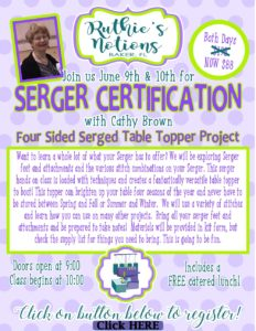 Baby Lock Serger Certification