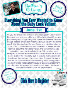 Baby Lock Valiant Class with Mike Johns
